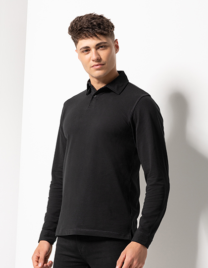 Men`s Long Sleeved Stretch Polo